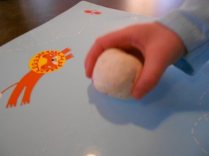 snowballs and play dough balls