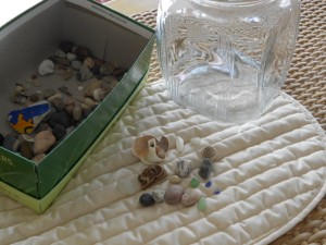 sensory play and loose parts play with rocks and shells