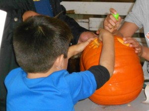 turning pumpkins into jack-o-lanterns