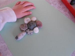 children's play with rocks