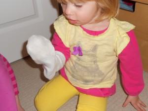 snowman sock puppet