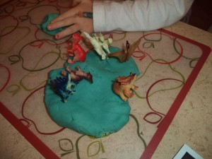 dinosaurs and playdough