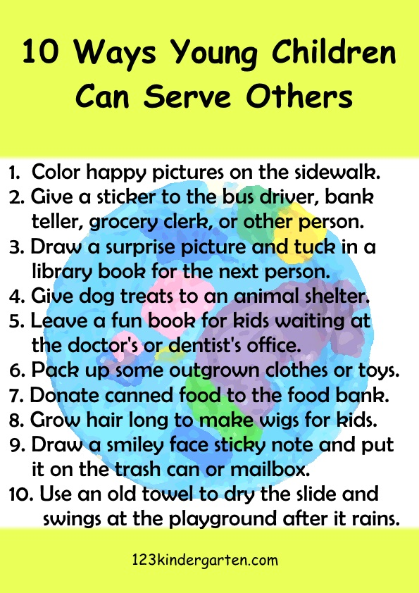 10 ways for kids to serve others