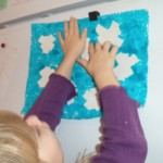 snowflake paint resist art