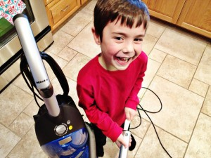 children help with spring cleaning
