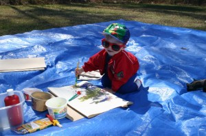 child painting tarp