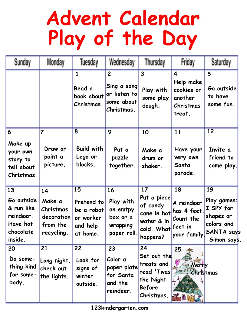 Advent Calendar Craft Kindergarten : Advent play of the day calendar kindergarten