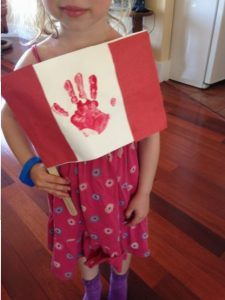 make a handprint flag for Canada Day craft