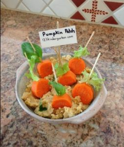 Halloween carrots hummus snack