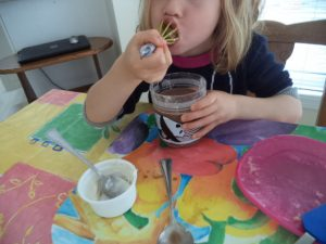 banana chocolate smoothie messy play