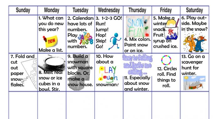 January fun learning play activities for kids