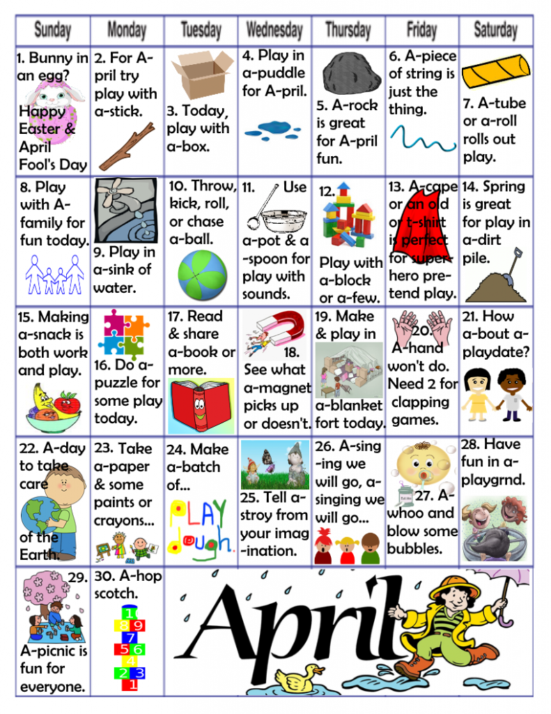 April play learn activities kids