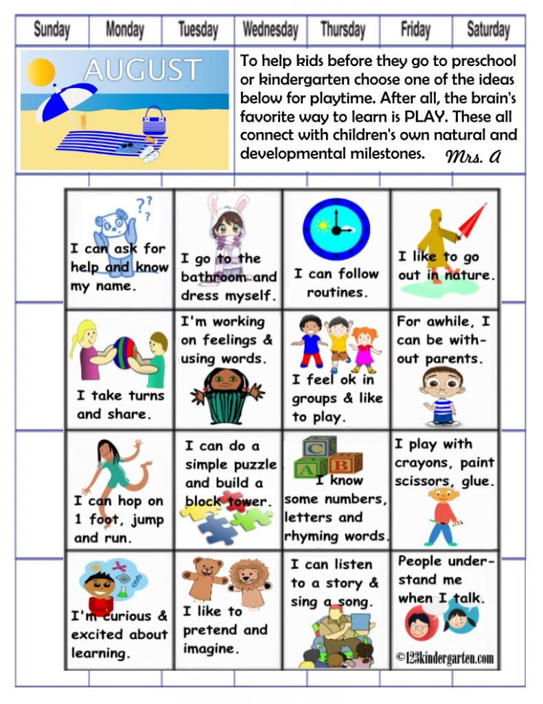 readiness play activities for kids