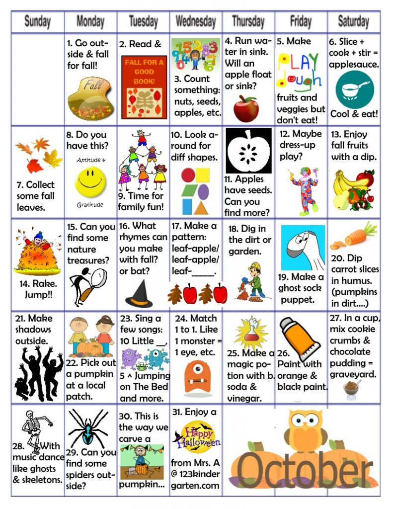 October play and learn activities
