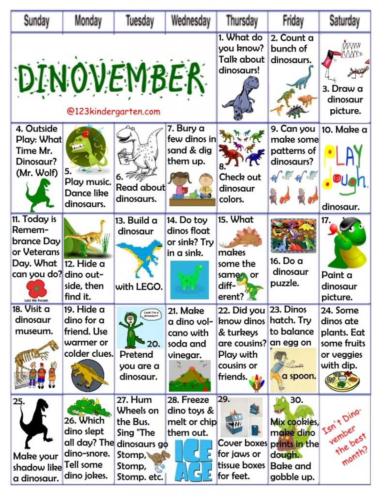 dinovember play activities, dinosaur preschool kindergarten activities