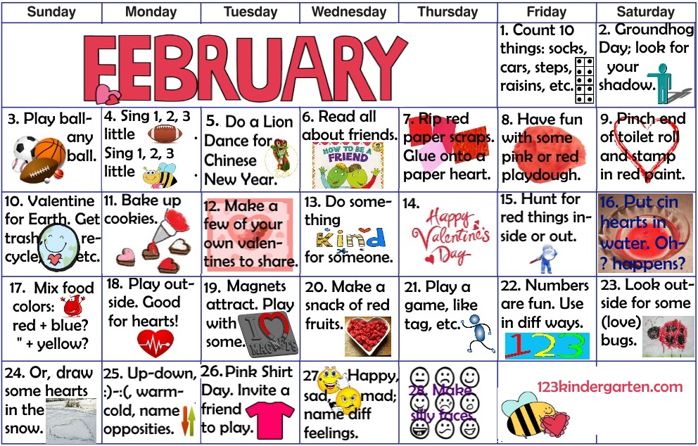 February play and learn activities for kids