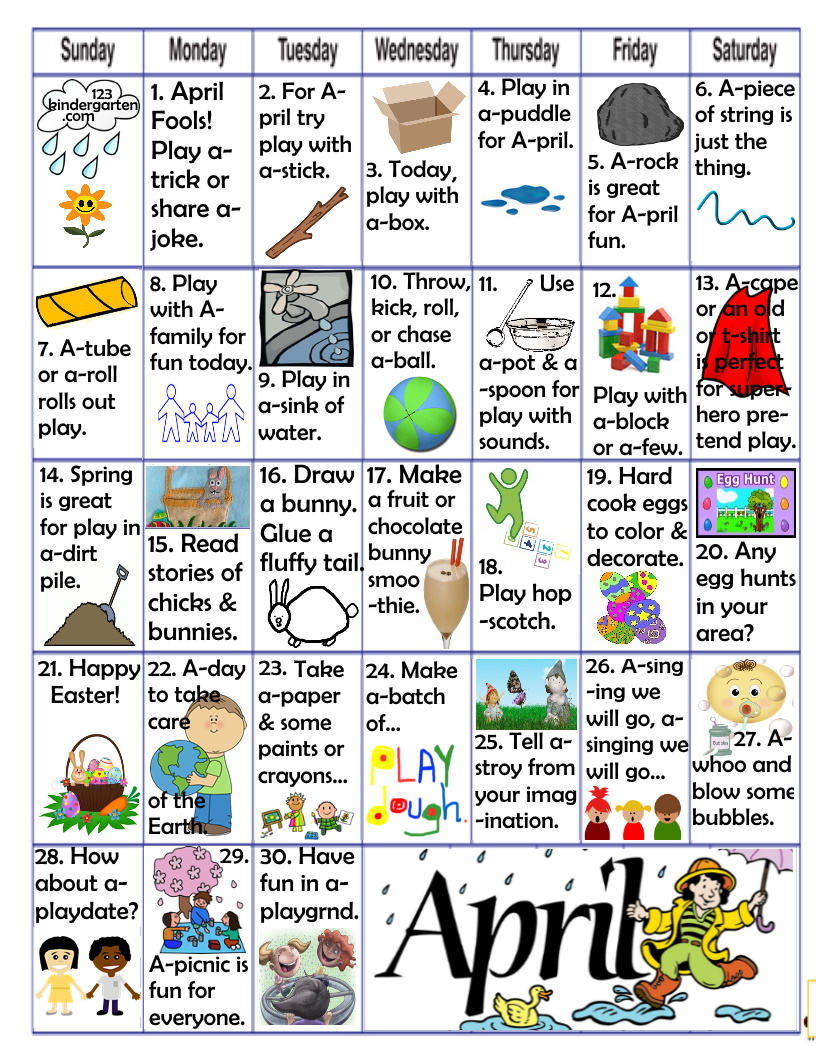 April play and learn activities