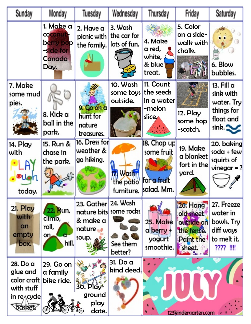 July play activities for kids